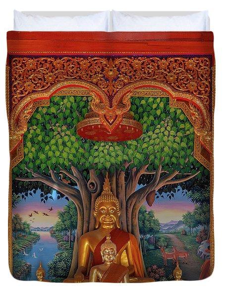 Duvet Cover featuring the photograph Wat Kulek Phra Wihan Buddha Images Dthlu0448 by Gerry Gantt