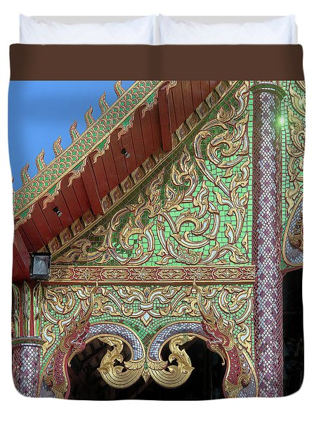 Duvet Cover featuring the photograph Wat Nong Khrop Phra Ubosot Gable Naga Dthcm2666 by Gerry Gantt