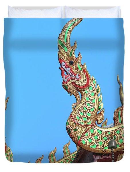 Duvet Cover featuring the photograph Wat Nong Khrop Phra Ubosot Naga Roof Finials Dthcm2665 by Gerry Gantt