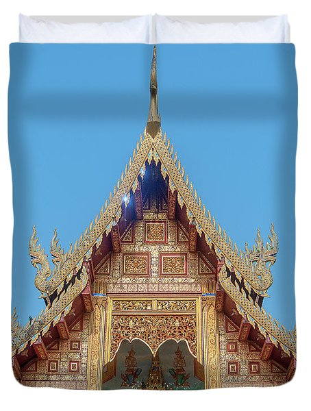 Duvet Cover featuring the photograph Wat Nong Tong Phra Wihan Gable Dthcm2640 by Gerry Gantt