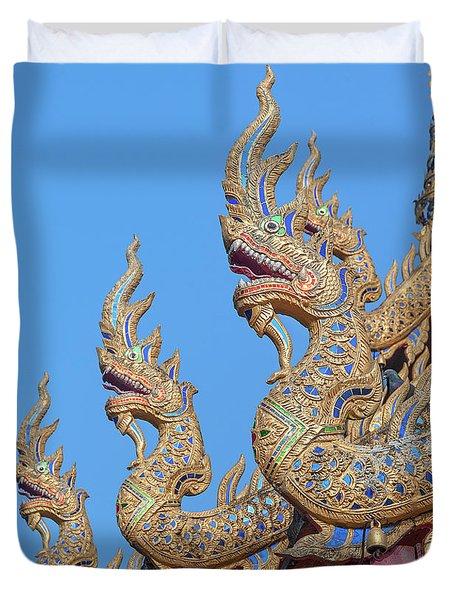 Duvet Cover featuring the photograph Wat Nong Tong Phra Wihan Naga Roof Finials Dthcm2648 by Gerry Gantt