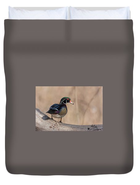 Watchful Wood Duck Duvet Cover