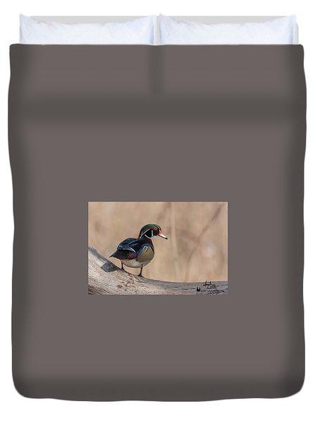 Watchful Wood Duck Duvet Cover