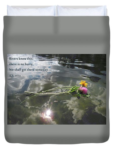 Water Reflection And Quote Duvet Cover