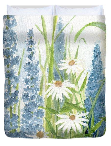 Watercolor Blue Flowers Duvet Cover