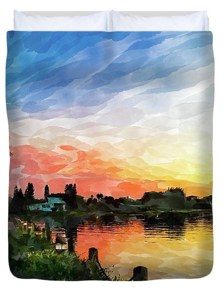 Watercolor Sunset At Ringling 2 Duvet Cover