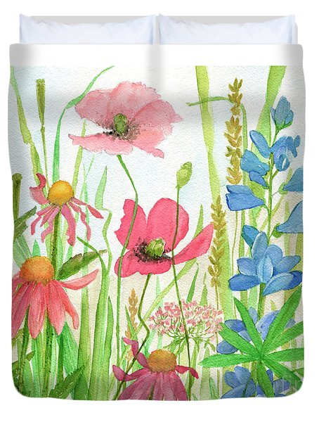 Watercolor Touch Of Blue Flowers Duvet Cover