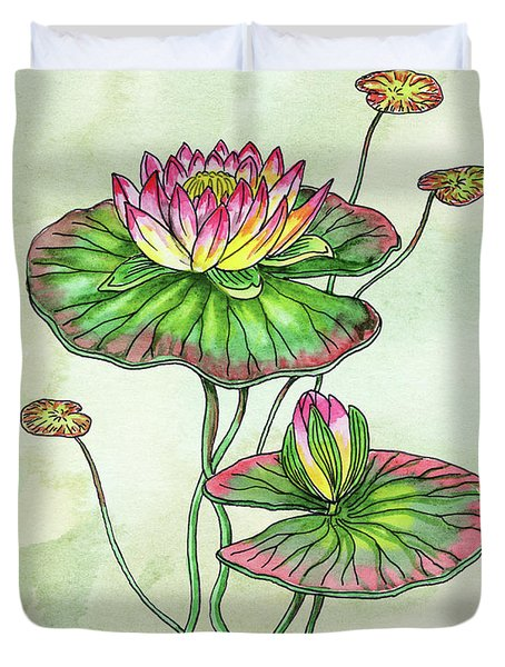 Watercolor Water Lily Botanical Flower Duvet Cover