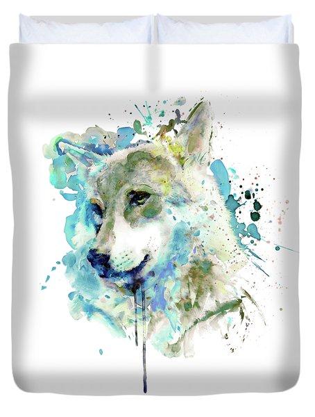 Watercolor Wolf Portrait Duvet Cover