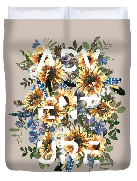 Duvet Cover featuring the painting Watercolour Sunflowers Adventure Typography by Georgeta Blanaru