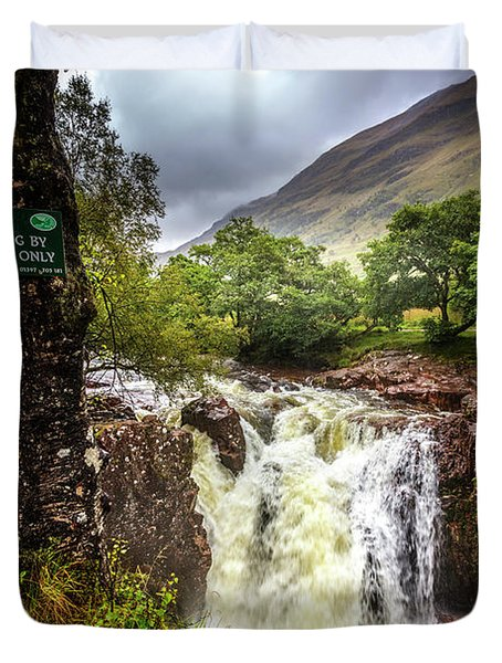 Waterfall At The Ben Nevis Mountain Duvet Cover
