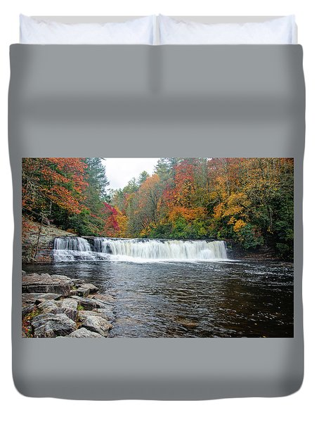 Waterfall In Autumn Duvet Cover