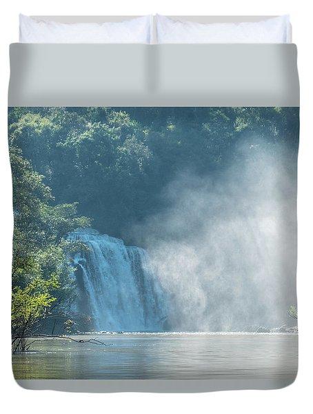 Waterfall, Sunlight And Mist Duvet Cover