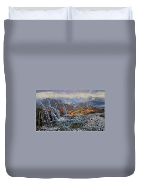 Waterfalls In The Mountains Duvet Cover