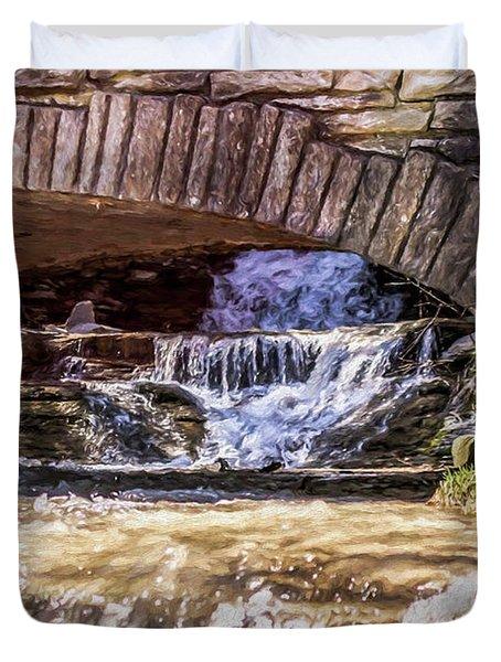 Waterfalls Through Stone Bridge Duvet Cover