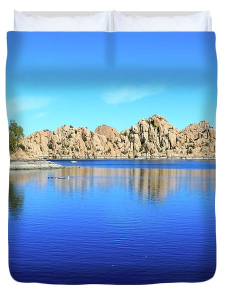 Duvet Cover featuring the photograph Watson Lake And Rock Formations by Dawn Richards
