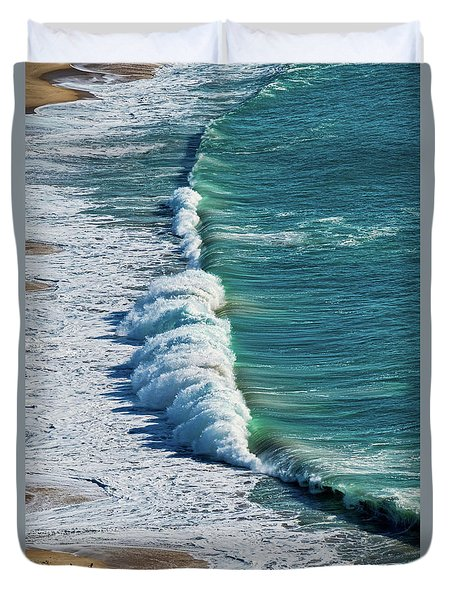 Waves At Nazare Beach - Portugal Duvet Cover