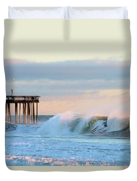 Duvet Cover featuring the photograph Waves At The Inlet Beach by Robert Banach