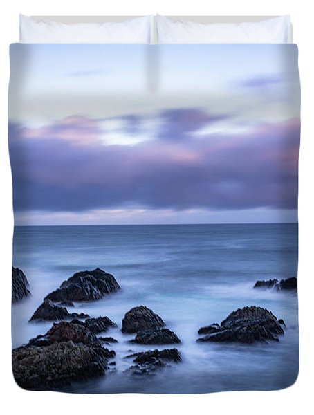 Waves At The Shore In Vesteralen Recreation Area Duvet Cover