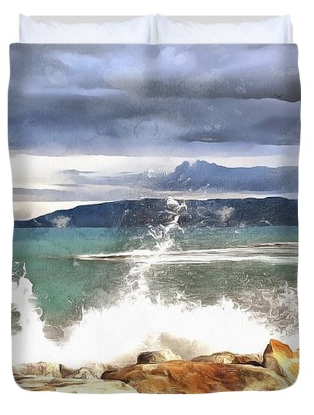 Duvet Cover featuring the painting Waves At Work by Harry Warrick