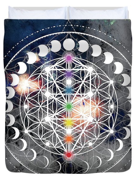 Duvet Cover featuring the digital art We Are Beings Of Light by Bee-Bee Deigner