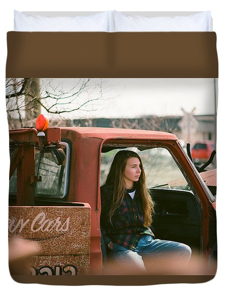 Duvet Cover featuring the photograph We Buys Cars by Carl Young