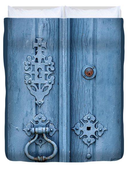 Weathered Blue Door Lock Duvet Cover