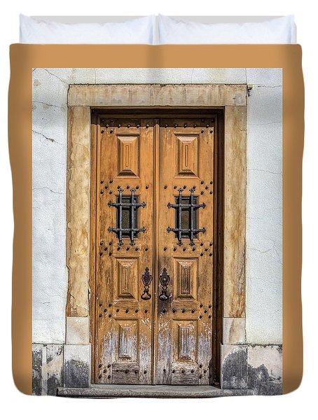 Weathered Brown Door Of Portugal Duvet Cover