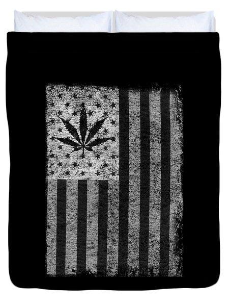 Weed Leaf American Flag Us Duvet Cover