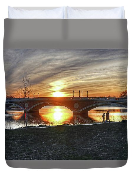 Duvet Cover featuring the photograph Weeks Bridge At Sunset by Wayne Marshall Chase
