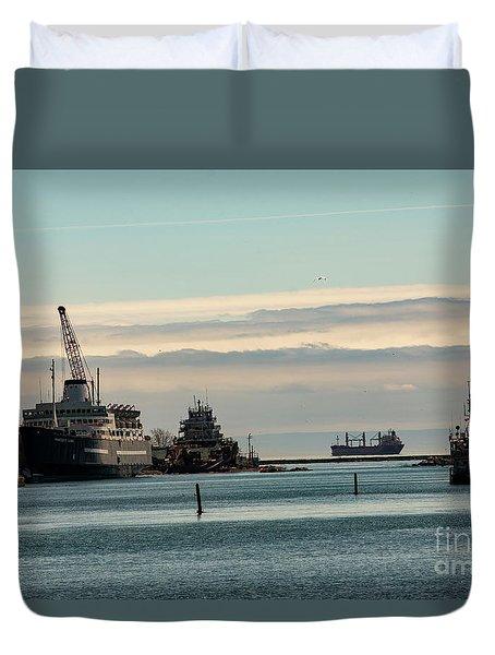 Welland Canal Ships Duvet Cover