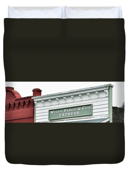 Duvet Cover featuring the photograph Wells Fargo by Jerry Sodorff