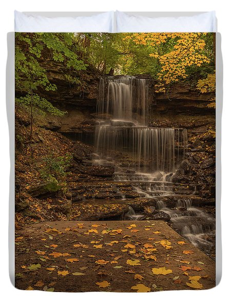 Duvet Cover featuring the photograph West Milton Falls In Autumn by Dan Sproul