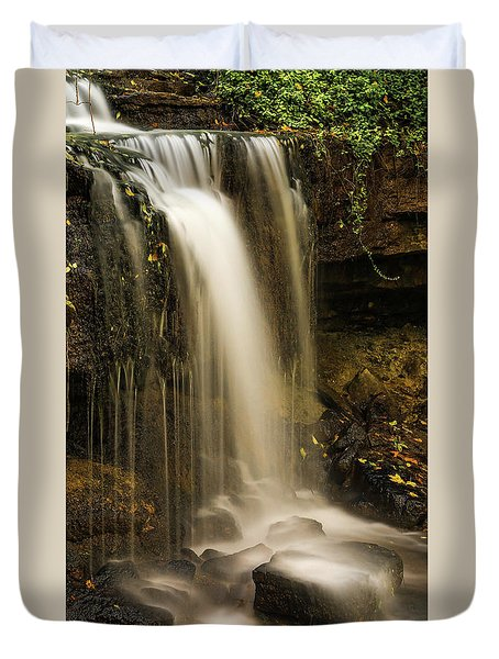 Duvet Cover featuring the photograph West Milton Falls Vertical by Dan Sproul