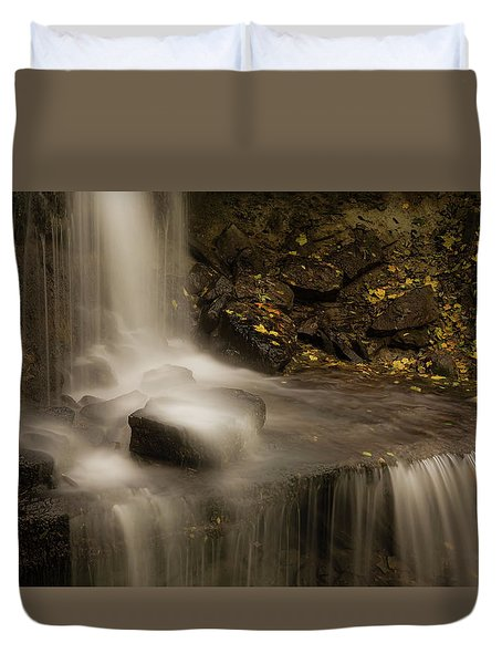 Duvet Cover featuring the photograph West Milton Waterfall Details by Dan Sproul