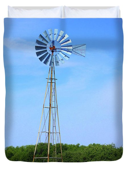 Duvet Cover featuring the photograph West Texas Windmill A9718 by Mas Art Studio