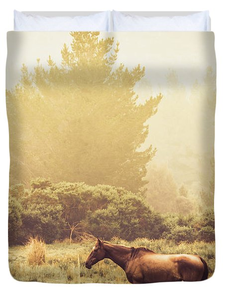 Western Ranch Horse Duvet Cover