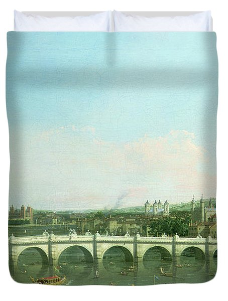 Westminster Bridge From The North With Lambeth Palace In Distance Duvet Cover