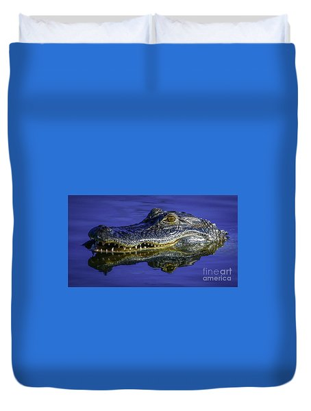 Duvet Cover featuring the photograph Wetlands Gator Close-up by Tom Claud