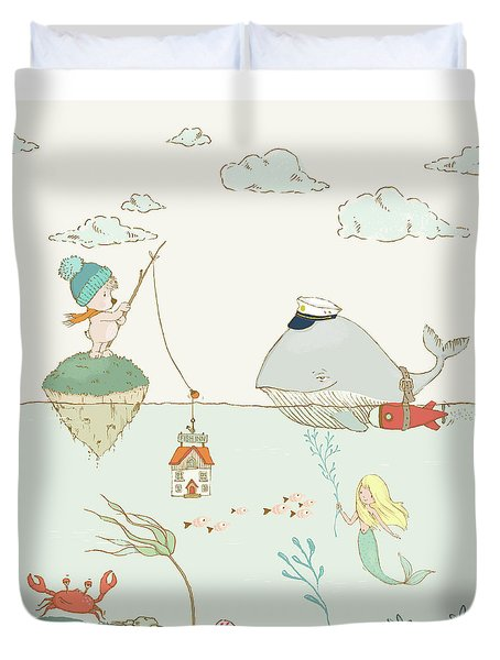 Duvet Cover featuring the painting Whale And Bear In The Ocean Whimsical Art For Kids by Matthias Hauser