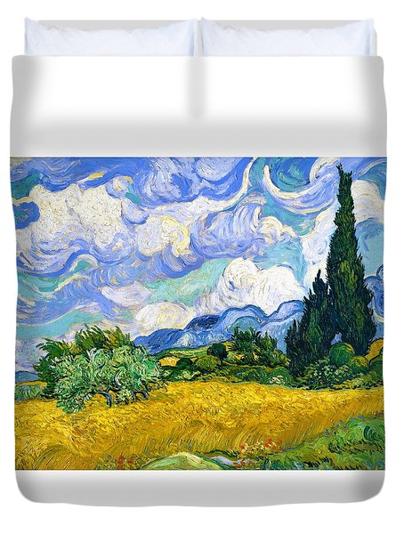 Wheat Field With Cypresses - Digital Remastered Edition Duvet Cover