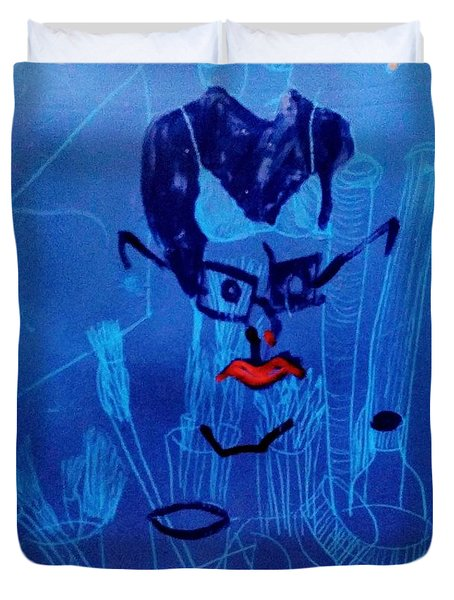 When His Face Is Blue For You Duvet Cover