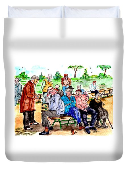 When Park Benches Were Filled With People Duvet Cover