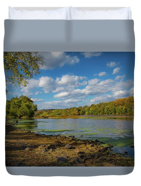 Duvet Cover featuring the photograph Where Washington Crossed by Lora J Wilson