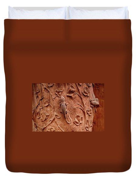 Whimsical And Lifelike Carvings On Heidelberg Castle Duvet Cover