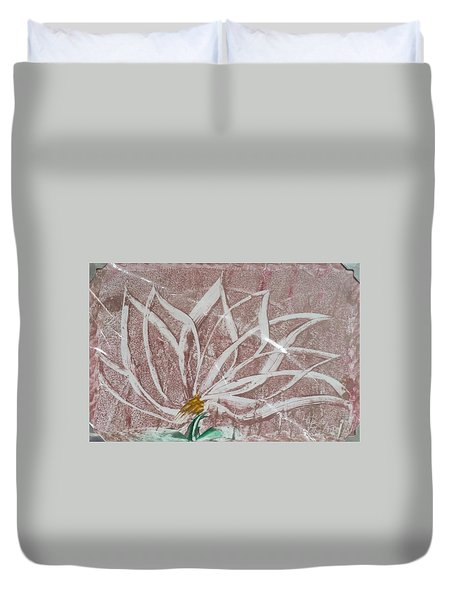 White Abstract Floral On Silverpastel Pink Duvet Cover