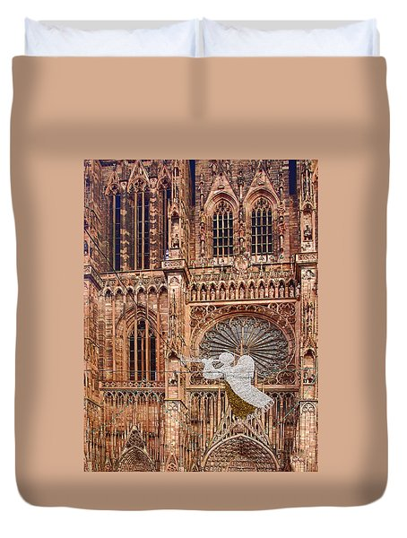 White Angel Decorations On Shops At The Christmas Market Duvet Cover
