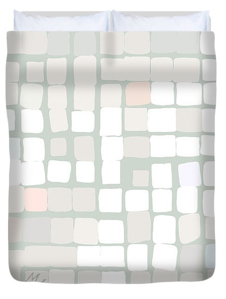 Duvet Cover featuring the digital art White by Attila Meszlenyi