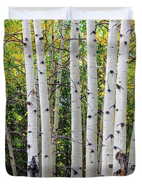 White Bark Golden Forest Duvet Cover