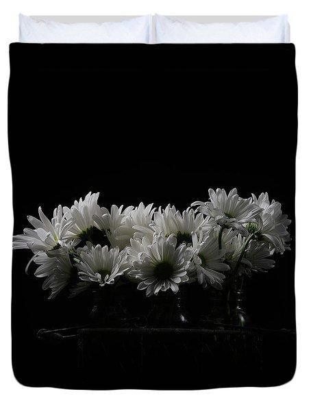 White Daisy Flowers Black Background Duvet Cover